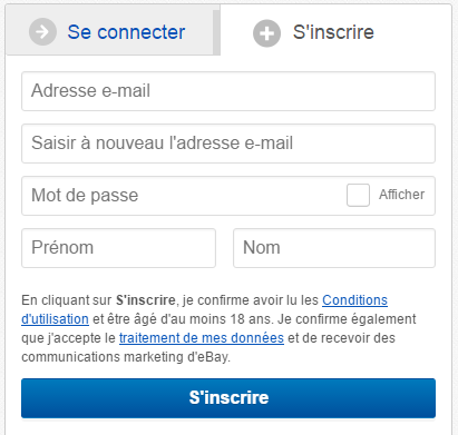 Inscription sur Ebay