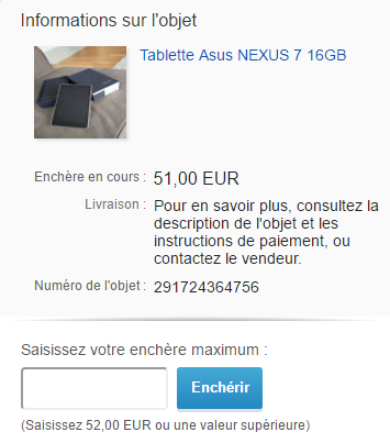 Exemple encheres ebay